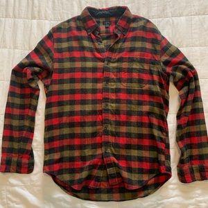 J Crew Men's Flannel Red Black Men's